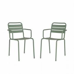 lot de 2 fauteuils jardin vert d'eau