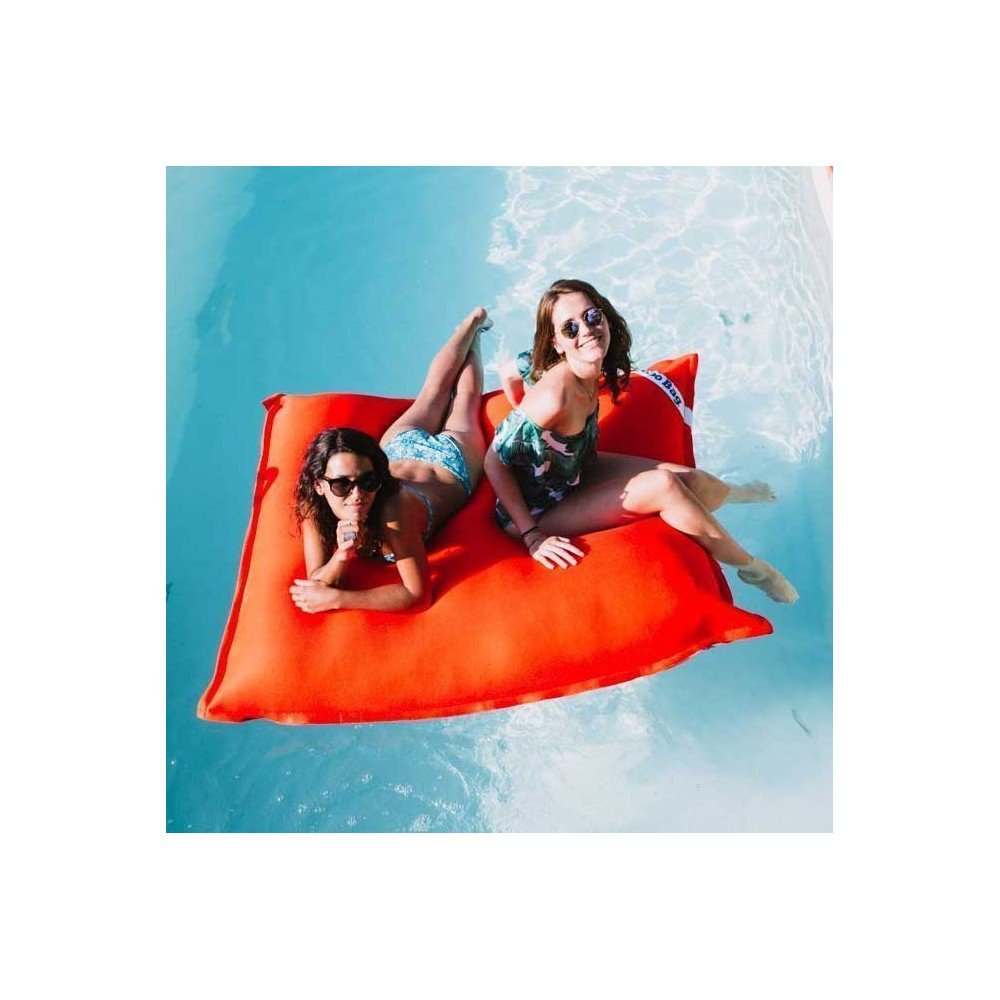 grand pouf piscine orange