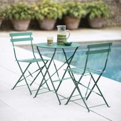 Ensemble bistrot vert table et 2 chaises