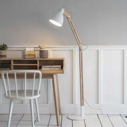 lampadaire bois d'hévéa