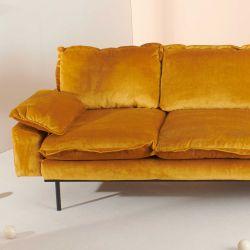 Canapé vintage velours jaune 3 places