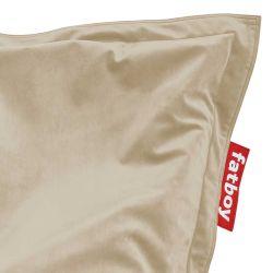 pouf velours beige