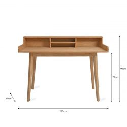 Bureau avec étagère bois de frêne