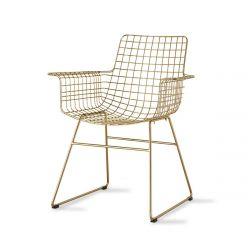 Chaise bureau fil métal or