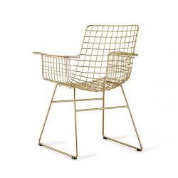 Chaise Wire HK Living en fil de fer doré avec accoudoirs