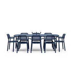 Table bleu océan pour 8 personnes en aluminium