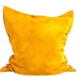 Pouf rectangulaire jaune curry