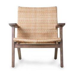 Chaise avec accoudoir en rotin tressé