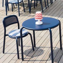 Chaise bistro bleu alu