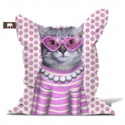 Pouf chat rose pour enfant