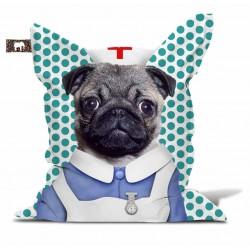 Pouf chien déguisé infirmier
